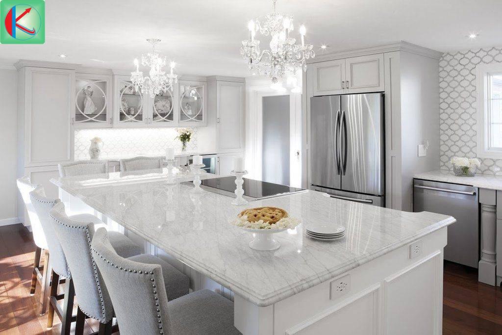 Sự sang trọng của gian bếp đến từ đá marble trắng