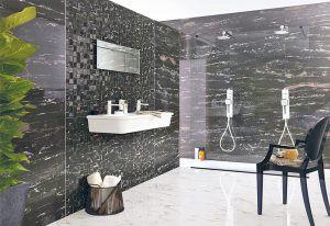 Phòng tắm trở nên sang trọng nhờ đá marble đen