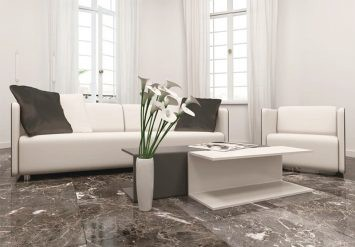 Đá marble đen giúp sàn nhà trở nên sang trọng và thanh lịch