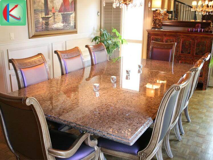Đá hoa cương Brown Pearl ốp lát bàn ăn