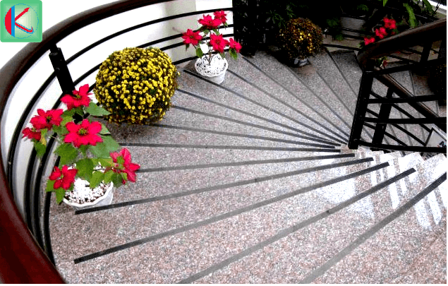 Đá hoa cương tím Mông Cổ ốp lát cầu thang